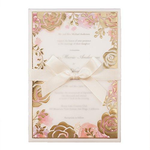 (Wishmade 100 Blumen Hochzeit Geburtstag Baby Dusche Einladungen Set mit Umschläge, mit Rosa Schleife und Bronzing Design Einladungskarten, Bieten personalisiertes Drucken)