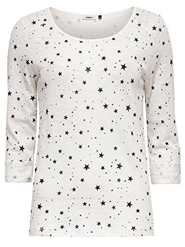 ONLY onlJESS BIRDY STARS 3/4 TOP JRS, Maglia a maniche lunghe Donna, Multicolore (Cloud Dancer), 36 (Taglia Produttore: Small)