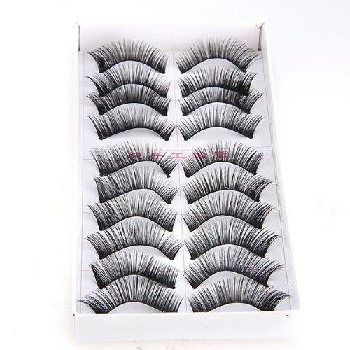 FACILLA® 10 Paires Faux Cils Noir Epais Long pour Yeux Maquillage Pro