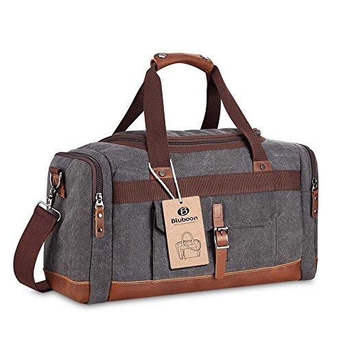 Canvas Reisetasche Handgepäck Weekender Tasche Vintage Segeltuch Sporttasche für Reise (Kaffee) Grau-L