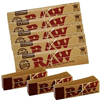 RAW 5 Classic Kingsize Slim Rolling Papers and 3 Tips,