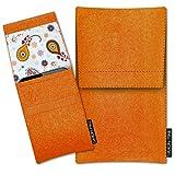 SIMON PIKE LG G4 Filztasche Sidney in orange 10, handgefertigte Smartphone Filz Tasche aus echtem Wollfilz