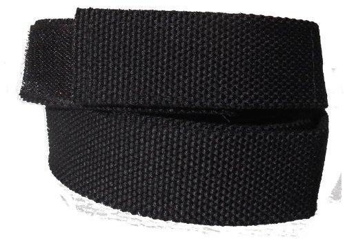Stoffgürtel Klett Koppel Gürtel mit Klettverschluss, schwarz 120 cm