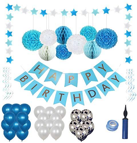 Geburtstagsdeko Jungen / Junge Kindergeburtstag Deko, Geburtstag Dekoration Set,Premium-Qualität Blau und Weiß;Erster 1 Geburtstag Junge,Happy Birthday Wimpelgirlande,Ballons Blau Weiß Türkis