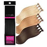 ELEGANCE-HAIR® Extensions de Cheveux Naturels Kératine Pose à Chaud 1g/Mèche 40cm Raides #1 - Jet Black - Noir