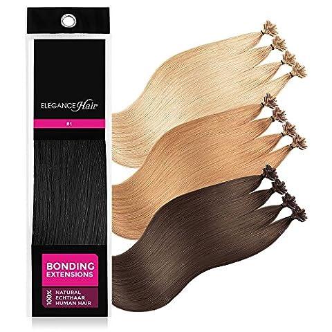 ELEGANCE-HAIR® Bonding Extensions 20x 1g Echthaar-Strähnen Keratin Haarverlängerung 40cm Glatt