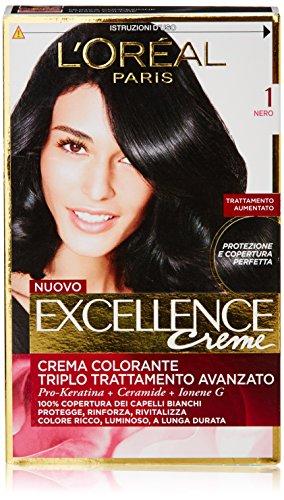 L'Oréal Paris Excellence Crema Colorante Triplo Trattamento Avanzato, 1 Nero
