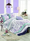 3 PCS Luxus Weiches farbigen Schlafzimmer 100% Baumwolle Ranforce Quilt Bettbezug Set, türkis und violett Point Spot Flower Poppy Plant Nature Queen/Full/Bett