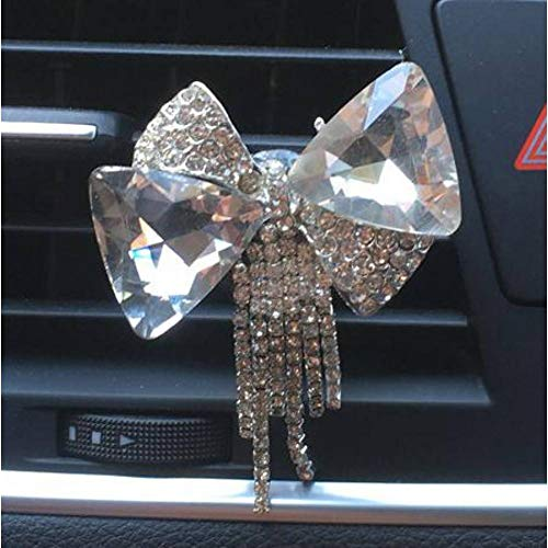 XIEJUN Autodekoration Exquisite Metallische Schleifen Und Quasten Auto Styling Ornament Parfüm Clip Damen Auto Lufterfrischer Auto Strass Bogen Dekoration (Diamant-bogen-haar-clip)
