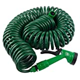 Best Coiled Garden Hoses - Garden Coil Hose Pipe With Spray Gun And Review