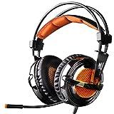 EasySMX Gaming-Kopfhörer Over-Ear-Design bequem 3,5mm Stereo LED-Beleuchtung mit Mikrofon für Computer-Spiele mit Rauschunterdrückung & Lautstärkeregler