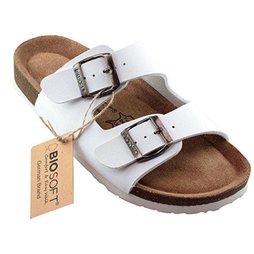 BIOSOFT Ann Damen Pflege Clogs | Arzt-Schuhe | Arbeitsschuh | Sandale | Sandalette | Pantolette | Schlappen mit Verstellbarem Riemchen Verschluss - Weiß | White 37