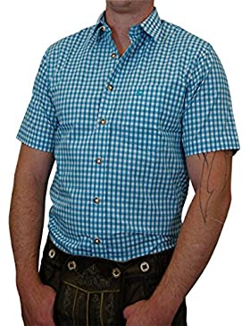 Edles Trachtenhemd Regular Fit Kurzarm kariert mit Stick auf der Brusttasche in verschiedenen Ausführungen