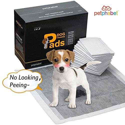 Artikelbild: Puppy Pads Bambus Holzkohle Welpen Pad von Petphabet Puppy Training Pads 56 x 58cm, Absorbieren 2x so Viel, 2x so Schnell,100 Stück