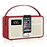 VQ Retro Mk II DAB & DAB+ Digital Radio with FM, Bluetooth, Apple Lightning Dock & Alarm Clock – Red