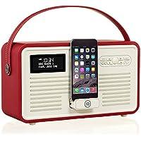 VQ Retro Mk II DAB/DAB+ Digital- und FM-Radio mit Bluetooth, Apple Lightning Dock und Weckfunktion - Rot