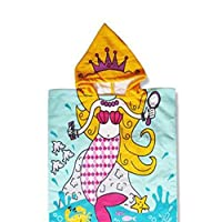 CCMART Mermaid Princess Kids Hooded Poncho Bath Towel Beach Towel 60 x 120 CM Fast Drying