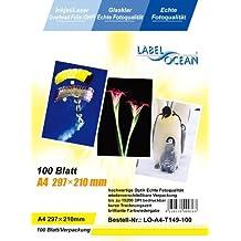 100 hojas A4 (papel transparente OHP) para impresoras de inyección de tinta, impresora láser en blanco y negro y a color, fotocopiadoras blanco&negro y a color