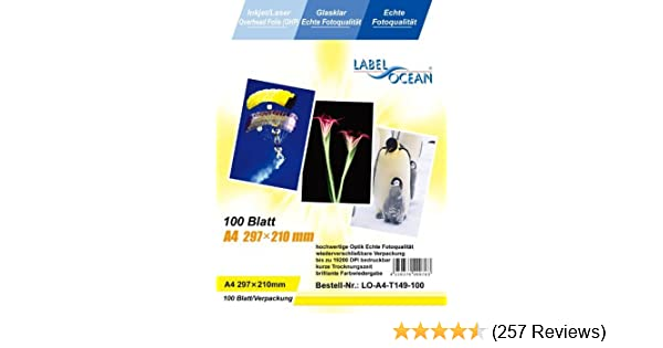 R 100 Bl.A4 Overheadfolien Overhead OHP Folie Inkjet//Laser von LabelOcean