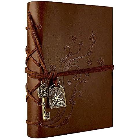 Foonii Retro Notebook copertura del cuoio di chiave magica String 160 Blank Jotter Diario Fiore(Brown)