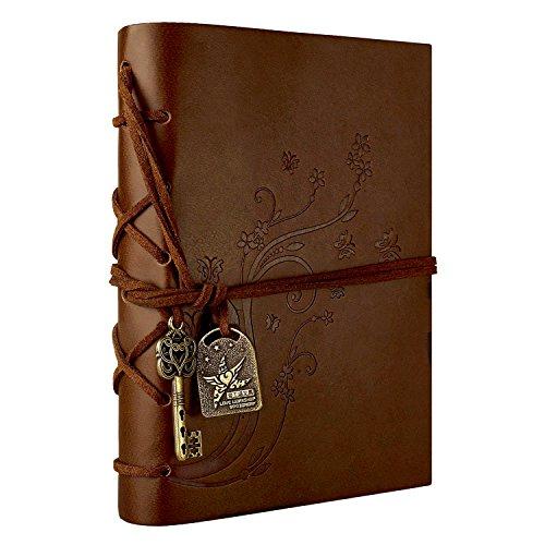 Foonii Vintage Retro Leather Cover Notebook Klassische Travel Journal Tagebuch Leeren Kraft Notebook Blume(Braun) (Schreiben Rezept Notebook)
