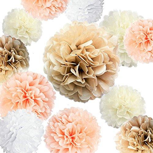 Seidenpapier Pompons Dekoration/Honeycomb Kugeln Blumen Craft/Fan Tisch Girlande Champagne/Peach/Ivory/White
