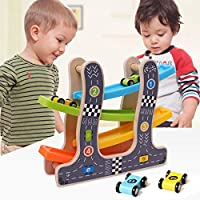 Webby Wooden Ramp Race Track Car Set Toy (Small, Multicolour)