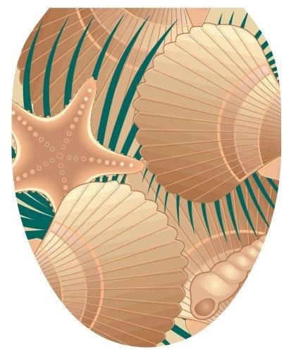 Toilet Tattoos TT-1600-O At the Beach (Sea Shells) Design, Elongated by Toilet Tattoos
