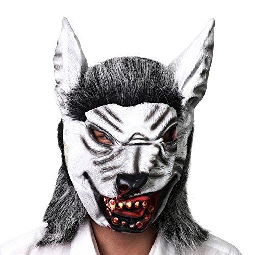 WYDM Simulation Wolf Kopf Maske Halloween Horror Scary Maske Hochwertige Latex Hooded Dance Party Performance Requisiten