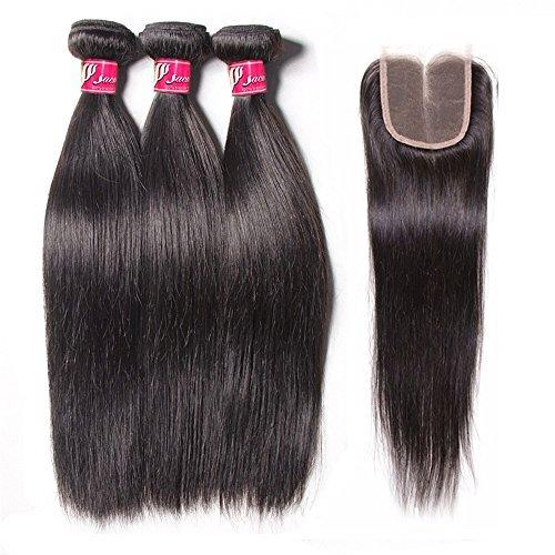 SAOMAI®7A Les Extensions de cheveux brazilian vierge cheveux toile perruques 3 paquets de fermeture … (12''14''16''+10'', partie médiane)