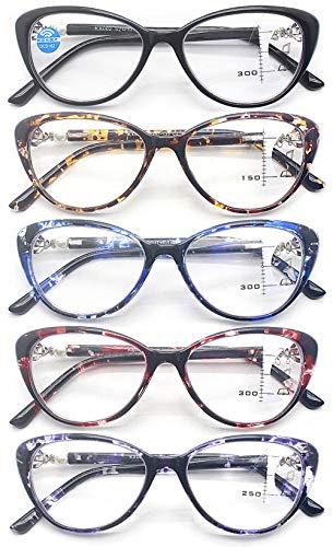 KOOSUFA Damen Gleitsichtbrille Progressive Multifokus Lesebrille Anti-Blaulicht Katzenaugen Hornbrille Sehhilfe Lesehilfe TR90 Anti Müdigkeit Brille 1,0 1,5 2,0 2,5 3,0 3,5 (5 Farben Set, 2.0)