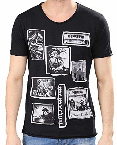 Red Bridge Herren T-Shirt Surfing Skeleton Surfmotiv Surfing Skelett Schwarz - Black
