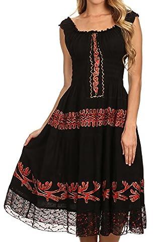 Sakkas 77 - Monica Boho Robe Mi-longue Batik Brodée Taille Smockée Sans Manches- Noir/Rouge-One Size