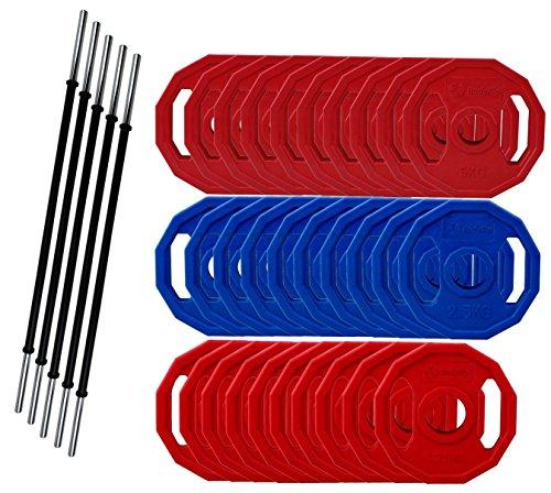 BodyRip Studio Gym Polygon Gewicht Teller Barbell Set 2,5cm Standard Bar 93kg Set (Gewicht Teller-set Standard)