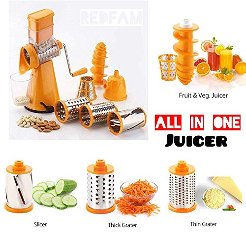 KEXON 4 In 1 Brings New Premium Multi-functional Vegetable Grater Rotary Drum Slicer Fruit Cutter Nut Shredder Salad Maker Chocolate Dry Fruits 3 Ultra-Sharp Interchangeable Stainless Steel Drums BPA-Free ABS Plastic