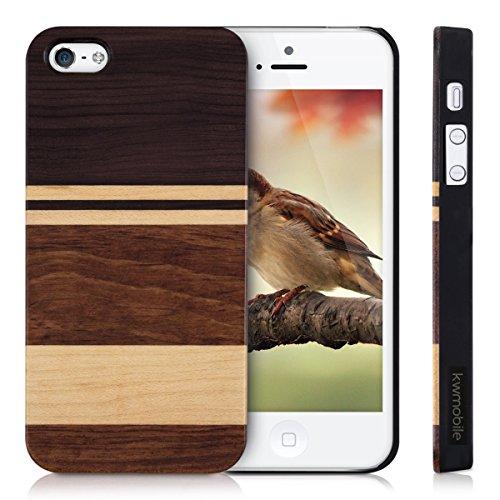 kwmobile Hülle für Apple iPhone SE / 5 / 5S - Rosenholz Case Handy Schutzhülle - Hardcase Cover Braun Streifen waagerecht Dunkelbraun Hellbraun Braun