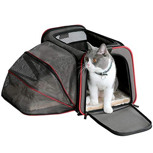Petsfit Ausdehnbare Transportbox für Hunde und Katzen, Bequeme Haustiertragetasche, Schwarz, Seitige Erweitung, 46cm x 28cm x28cm (Mittel)
