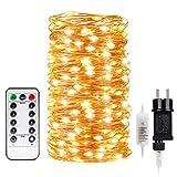 Kohree LED Lichterketten 20m 200 LEDs Kupferdraht mit Fernbedienung, AA Batteriebetriebene, Christmas String Lights für Hochzeit Weihnachten Party Garten, Warmweiß