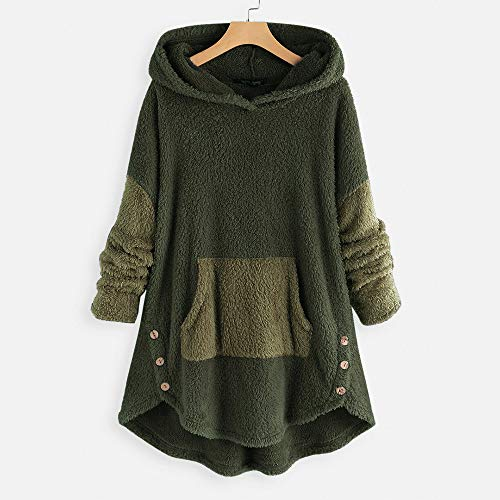 GEOOG Frauen Langarm-Kapuzen beiläufige lose Sweatshirts Pullover Tops für Maxi-Warm Doppel Hoodies Outwear mit Taschen,Grün,XXL -