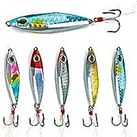 Sougayilang Jigs Señuelos de Pesca, cucharas de Metal para hundimiento, Micro cebos con Gancho para Pesca de Agua Dulce