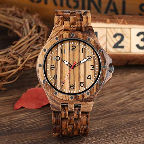 QMTFC Vintage Wooden Watch for Men, Rivet, Wooden Watch for Men, Hour Watch, Wooden Bracelet, Quartz wristwatches, Gift Items