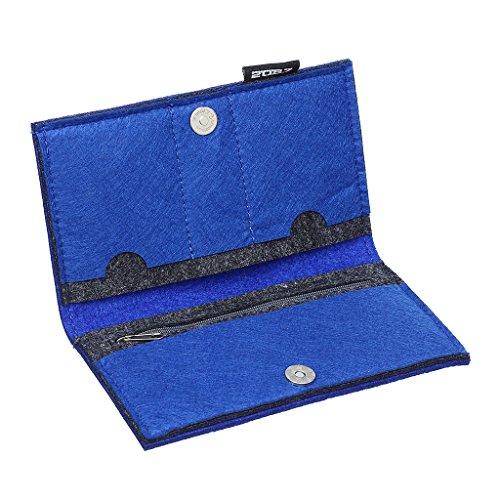 2087 Donne Della Signora Frizione Lungo Della Borsa Borse Titolare Della Carta Portafoglio Nero 03-Blu
