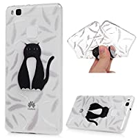 Huawei P9 Lite Case MAXFE.CO Ultra-Thin TPU Silicone Cover Case Classic Painting Transparent Clear Rubber Case for Huawei P9 Lite - Black Cat Feathers