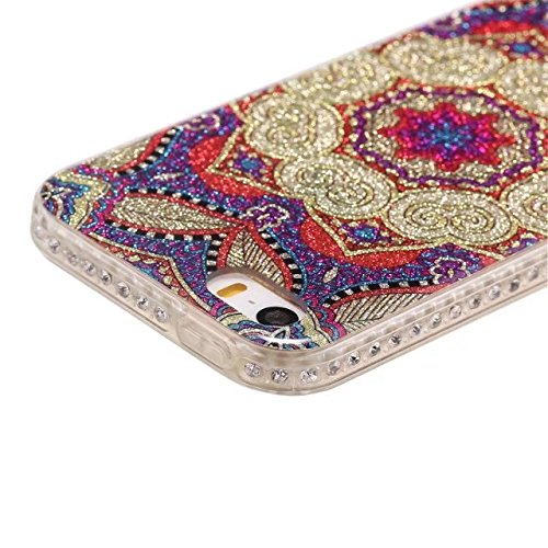 Bling Sparkle Glitter Rhinestone Resin Diamant Schützende Rückseite Cover Case Soft TPU Shell Stoßfänger [Shock Absorbtion] für iPhone 5s & SE ( Color : F ) B