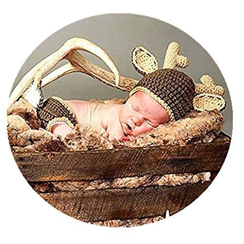gen Mädchen Foto Prop Crochet Kostüm Tier Hirsch Hat Windel, Braun ()