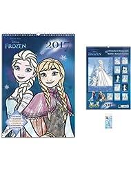 Set: Frozen, El Reino Del Hielo, Calendario Para Colorear 2017 (42x30 cm) Con 1x Llavero (6x4 cm)