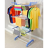 #10: Blossoms Foldable Rolling Clothes Laundry Drying Rack, Double Pole Rail Rod Adjustable Clothes HangerLaundry Rack with Foldable Wings Shape Standing Airfoil-style Rack Hanging Rods, with Stainless Steel, 3 Layer and four 360 Degree Wheels.