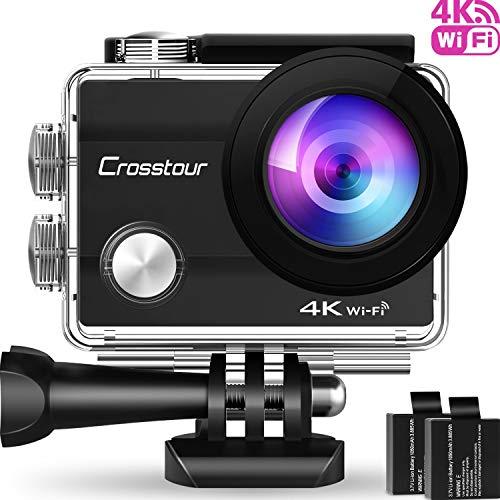 Crosstour Action Cam WiFi Sports Aktion Kamera 4K 12MP Ultra HD 2' LCD Unterwasserkamera 30M 170 °Ultra-Weitwinkel mit 2 1050mAh Batterien und Zubehör-Kits für Radfahren