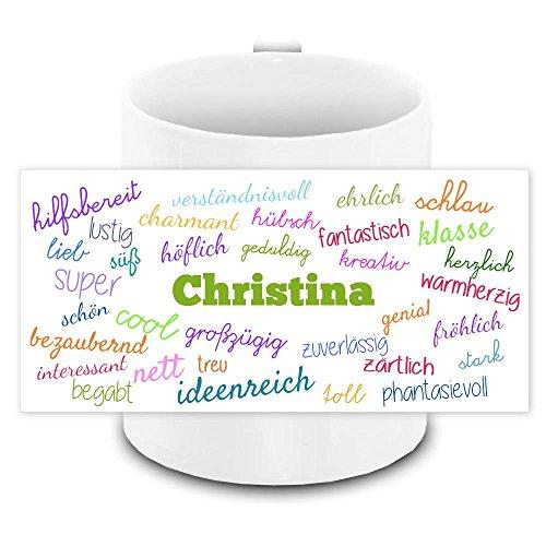 Tasse mit Namen Christina und positiven Eigenschaften in Schreibschrift, weiss | Freundschafts-Tasse - Namens-Tasse