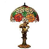 YJFFAN Kreative Alloy-Basis Retro Tiffany gestresst Glaslampe 40cm/16 Red Rose Table Lamp for Home Living Room Bedroom Study Desk Lamps Home Lighting Light, E2725.110-240v